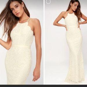 Lulus Zenith Cream Lace Maxi Dress